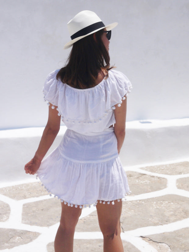 Katerina Mini Ruffle Skirt in White