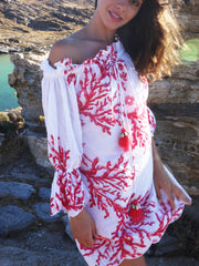 Coral Off the Shoulder Dress