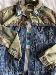Camo Denim Jacket with Hand Embroidered French Knot Evil Eye  - CUSTOM MADE TO ORDER