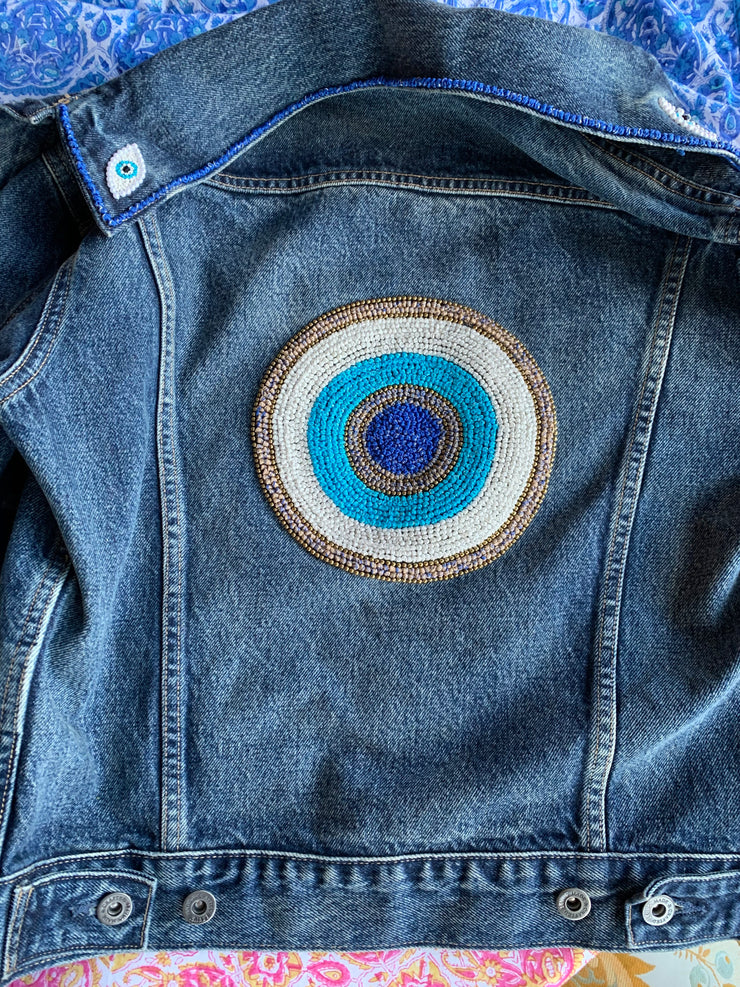 Hand Embroidered French Knot Evil Eye Denim Jacket - CUSTOM MADE TO ORDER