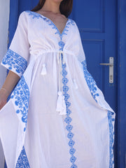 Aphrodite Long Embroidered Kaftan with Evil Eye - Grecian Blue