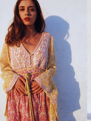 Loulou Quilted Kaftan - Marigold and Pink