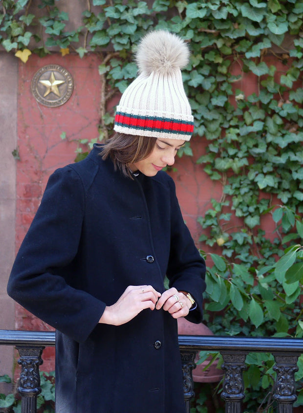 Racing Stripe Hat with Fur Pompom - White