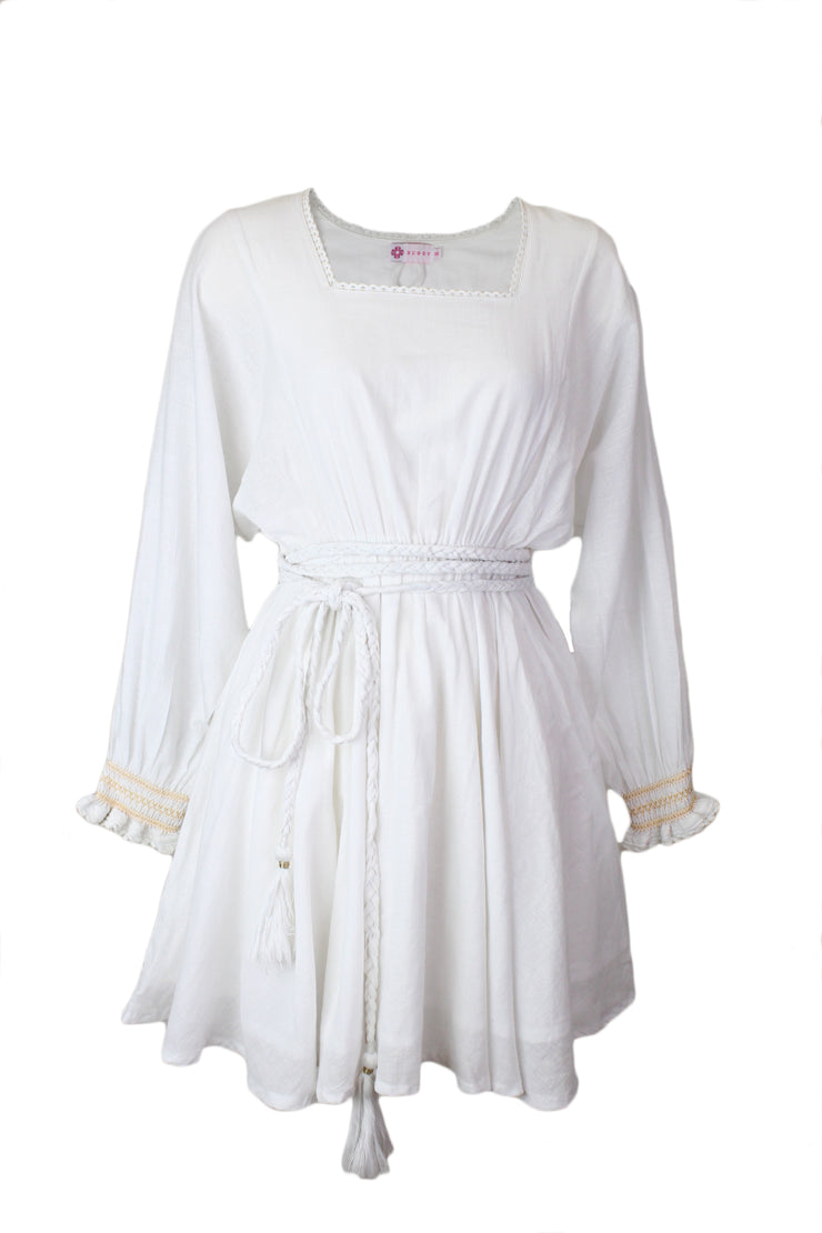 Sisi Dress in White & Gold