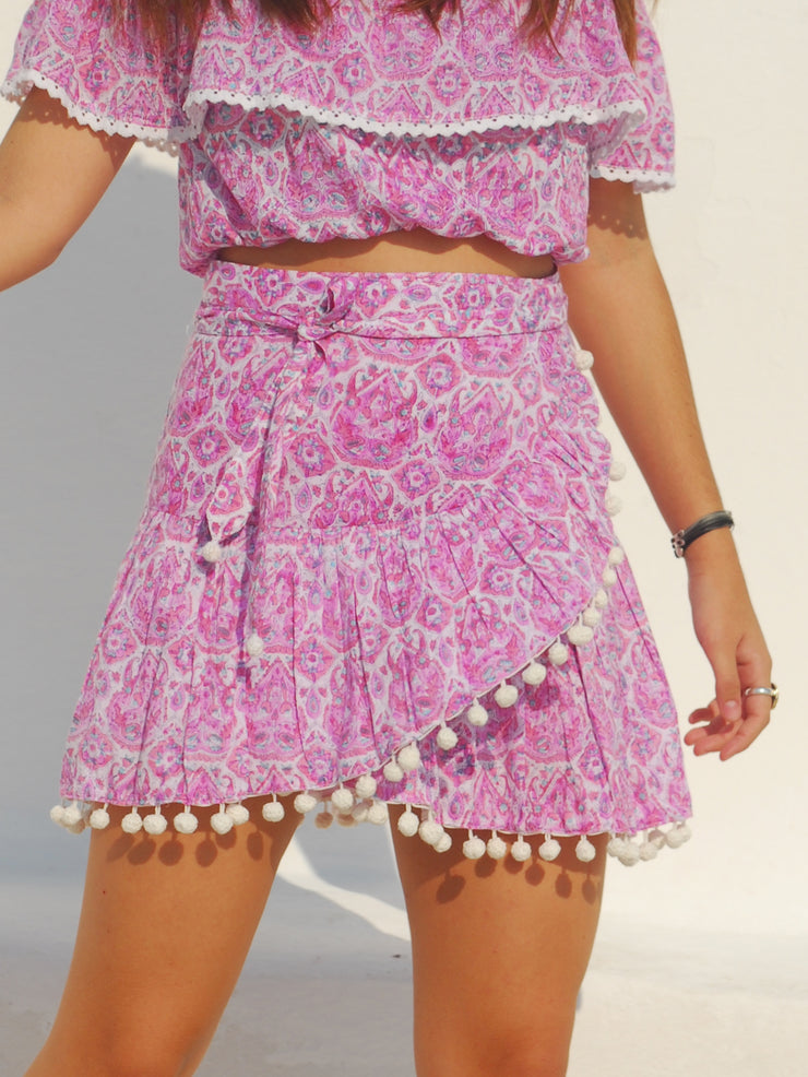 Katerina Mini Ruffle Skirt in Nettie Lavender Pink