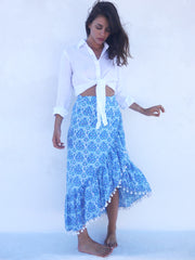 Katerina Long Ruffle Skirt in Nettie Greek Blue