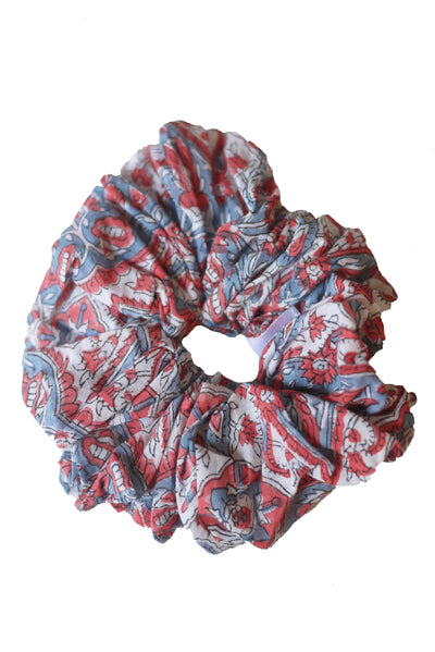 Blockprint Hair Scrunchie in Nettie Blue Grey and Nantucket Red