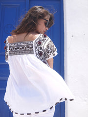Paros Embroidered Blouse - Chocolate