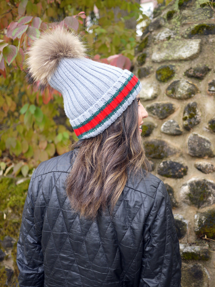 Racing Stripe Hat with Fur Pompom - Grey