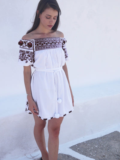 Kiki Off The Shoulder Dress - Chocolate