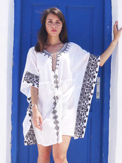 Danae Short Embroidered Kaftan with Evil Eye - Chocolate