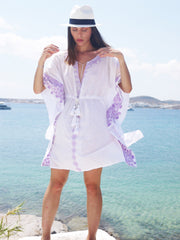 Danae Short Embroidered Kaftan with Evil Eye - Lavender
