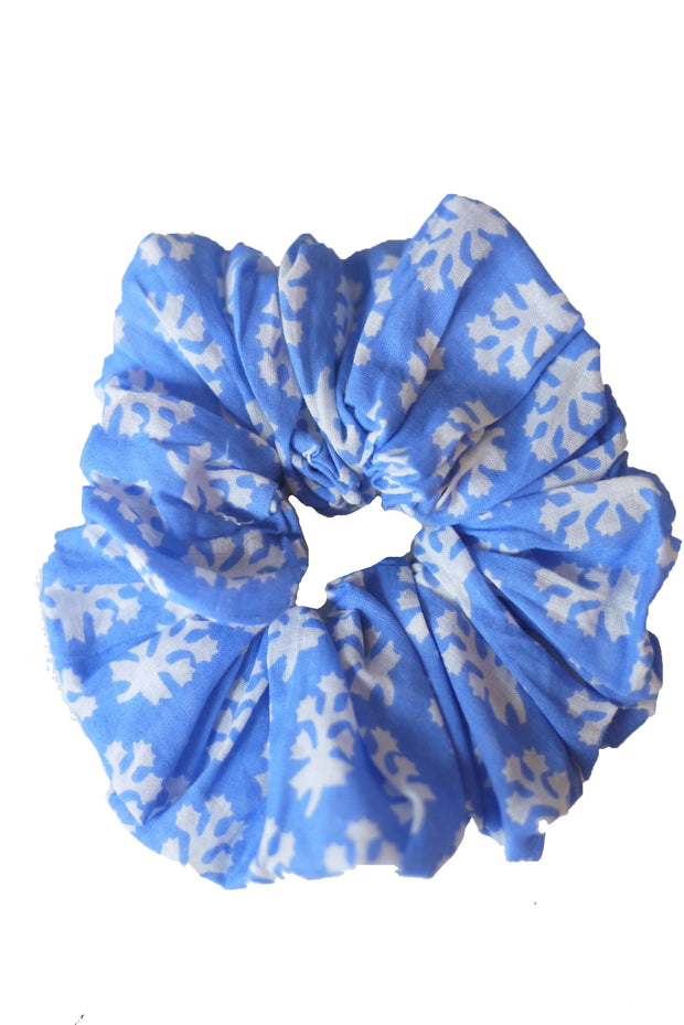 Blockprint Hair Scrunchie in Booti Blue