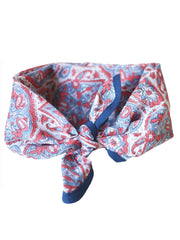 Blockprint Bandana in Nettie Blue Grey and Nantucket Red