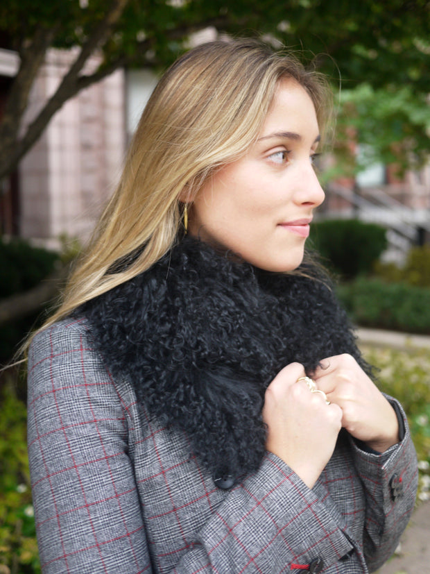 Mongolian Lamb Fur Collar in Black