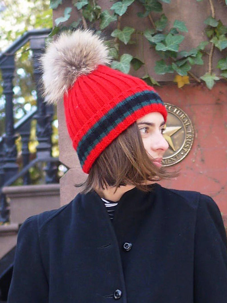 Racing Stripe Hat with Fur Pompom - Red