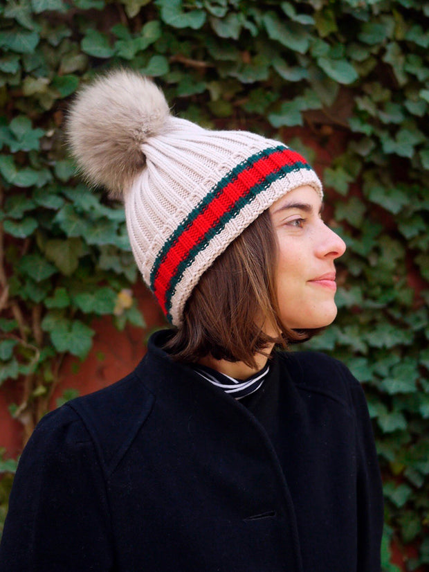 Racing Stripe Hat with Fur Pompom - Tan