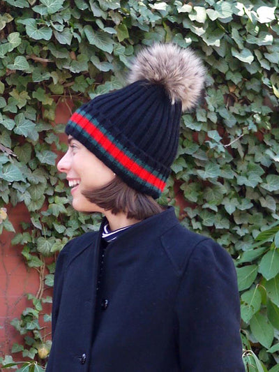 Racing Stripe Hat with Fur Pompom - Black