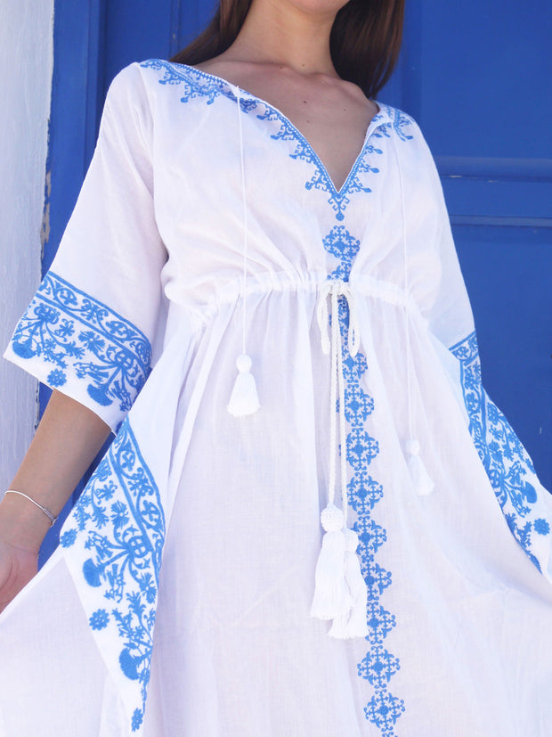 Danae Short Embroidered Kaftan with Evil Eye - Grecian Blue