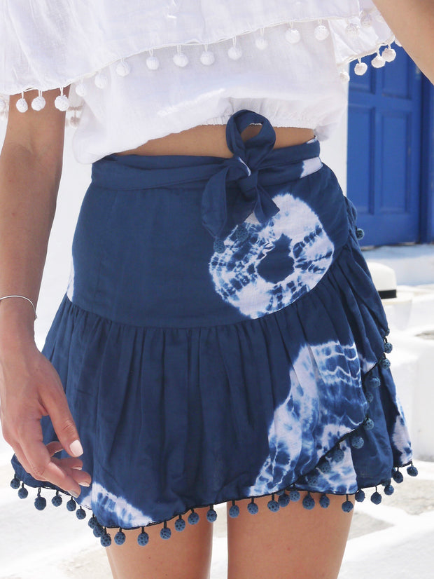 Katerina Mini Ruffle Skirt in Shibori