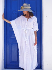 Aphrodite Long Embroidered Kaftan with Evil Eye - White