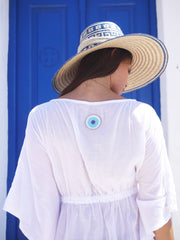 Danae Short Embroidered Kaftan with Evil Eye - White
