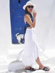 Katerina Long Ruffle Skirt in White