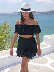 Katerina Mini Ruffle Skirt in Black