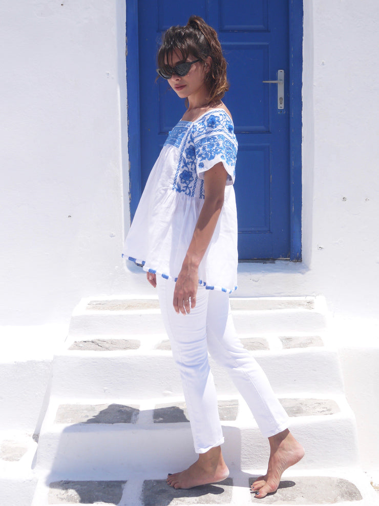 Paros Embroidered Blouse - Grecian Blue