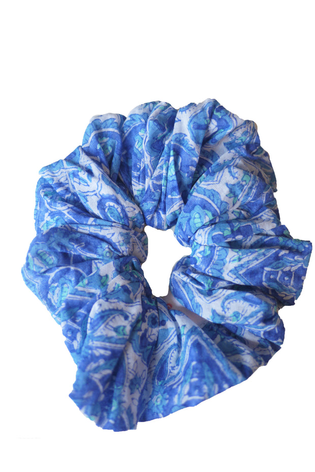 Blockprint Hair Scrunchie in Nettie Greek Blue