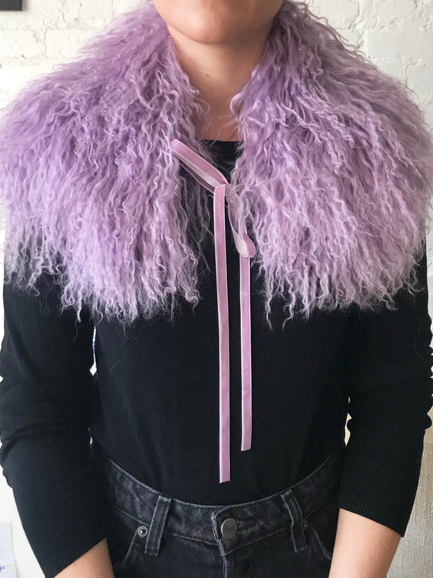 Mongolian Lamb Fur Collar in Lilac