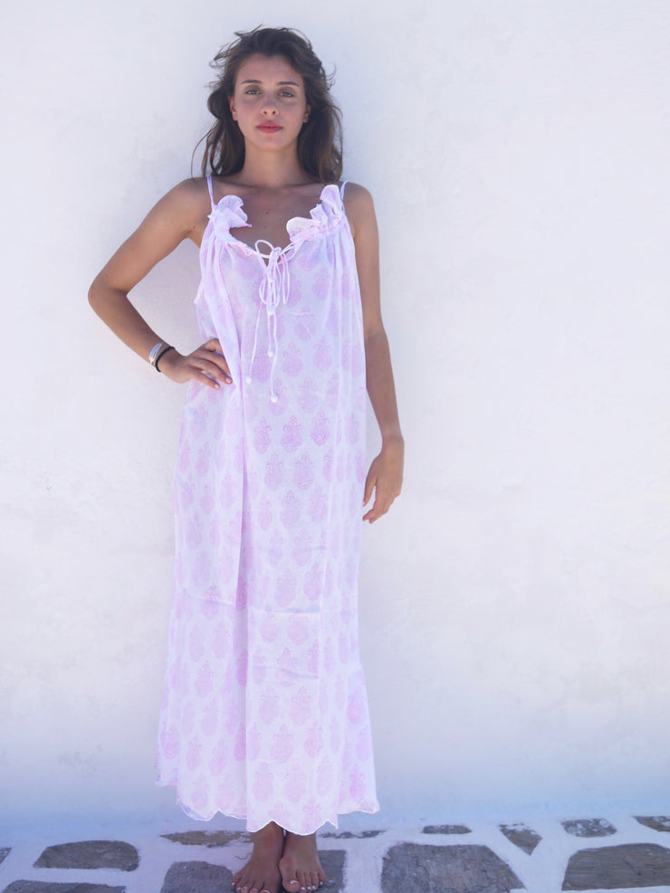 Long Náni Nighty in Paisley Pink