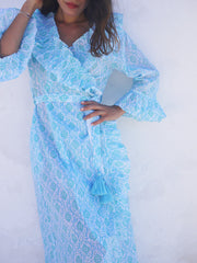 Long Náni Robe in Quatrefoil Seaglass