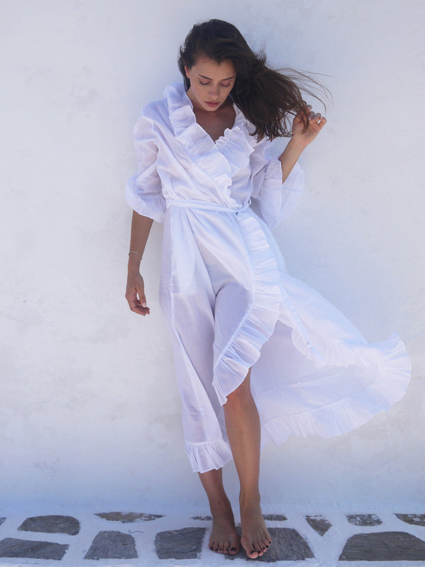 Long Náni Robe in White