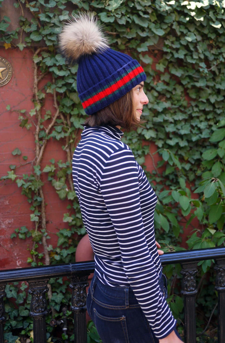 Racing Stripe Hat with Fur Pompom - Navy