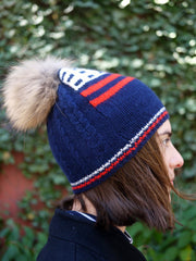 Planned Parenthood Cashmere American Flag Fur Pompom Hat - Navy