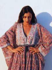 Loulou Quilted Kaftan - Nantucket Red and Blue Grey
