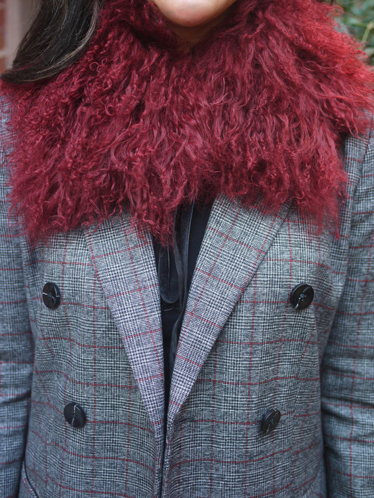Mongolian Lamb Fur Collar in Red