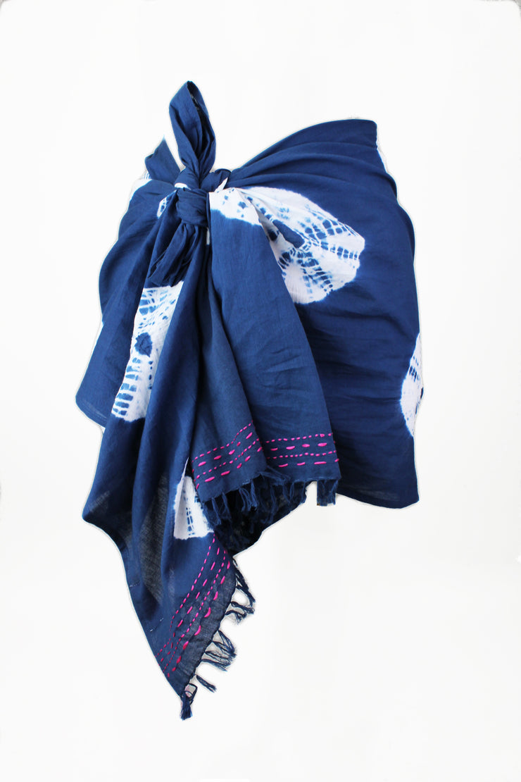 Shibori Skinny Pareo with Hand Stitching