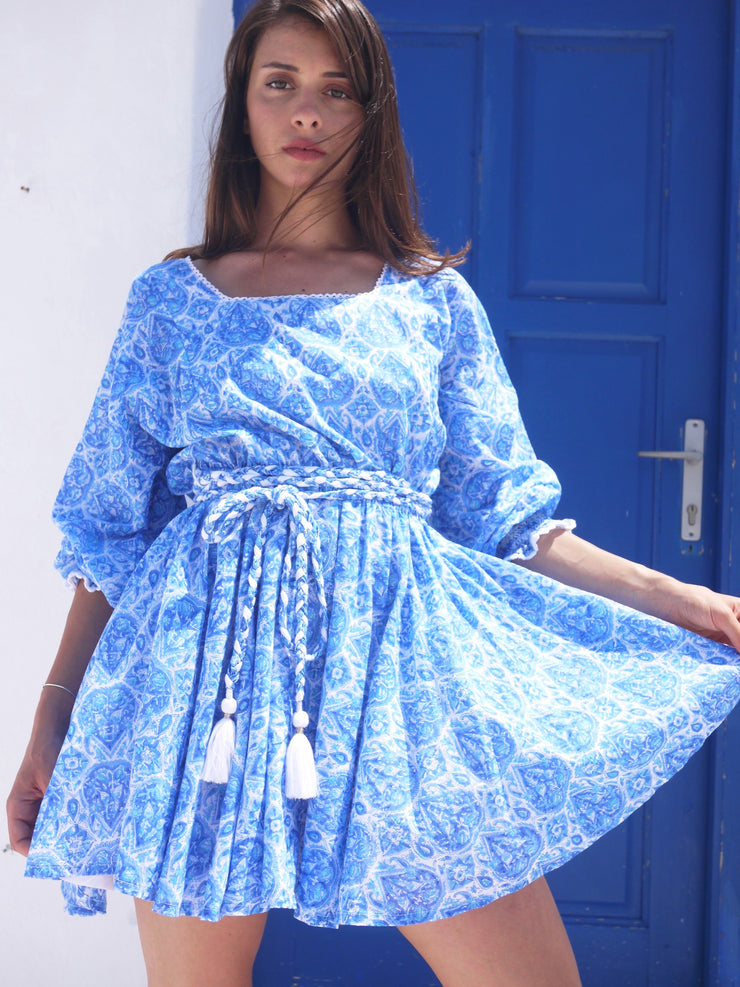 Sisi Dress in Nettie Greek Blue