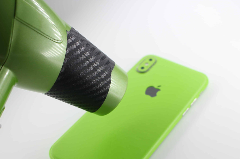 iPhone-X-Lime-Green-Skin-with-Hairdryer