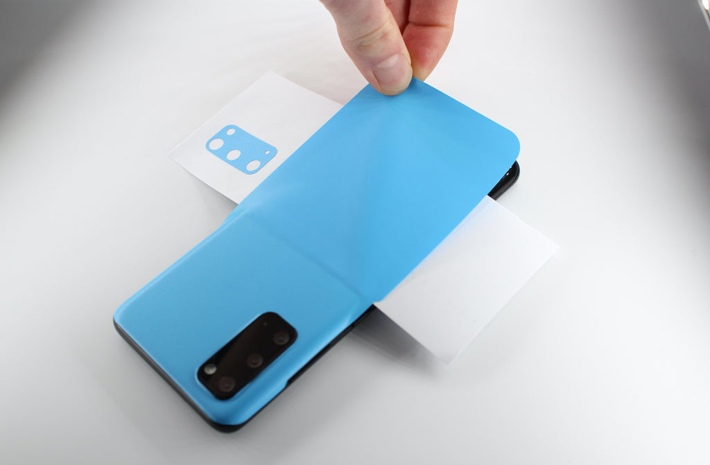 Sky Blue Galaxy S20 Vinyl Wrap with Horizontal Wax-lined Paper