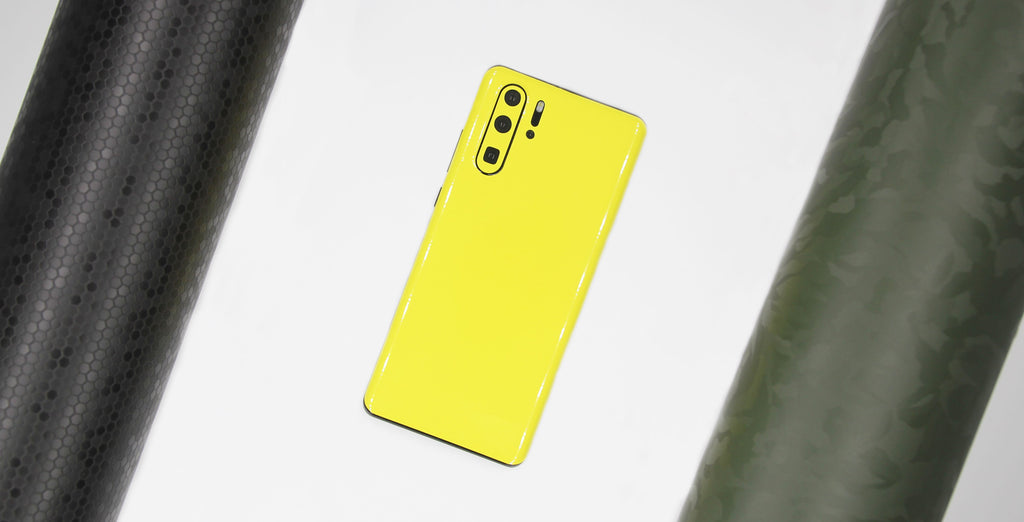 Huawei P30 Yellow Gloss with Honeycomb and Green Camo Vinyl