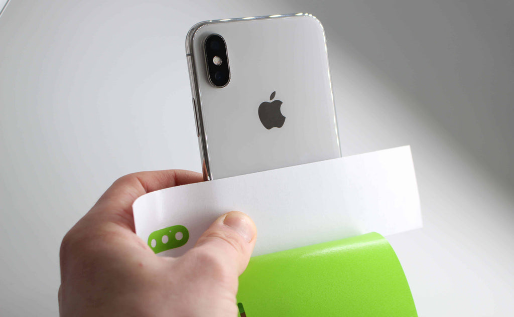 Lime Green iPhone X Vinyl Wrap with Horizontal Wax-line Paper