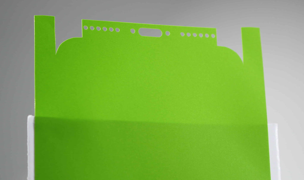 Matt Lime Green iPhone X Skin Re-attached to Paper