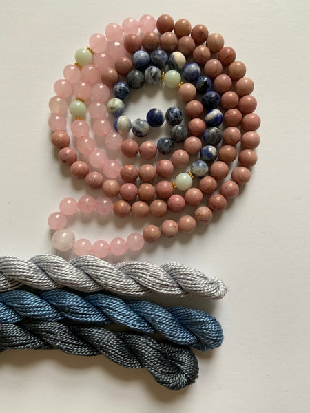 108 Bead ~ Rose Quartz, Rhodonite, Sodalite & Amazonite Mala with Tassel