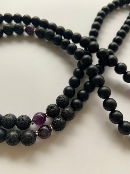 Black Agate + Volcanic Stone