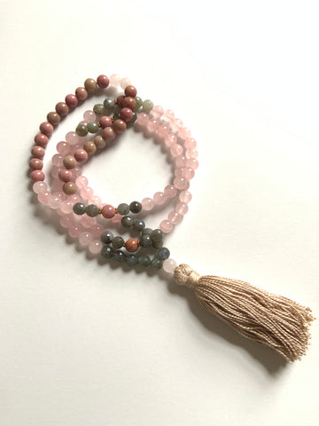 108 Bead ~ Rose Quartz, Labradorite & Rhodonite Mala with Tassel