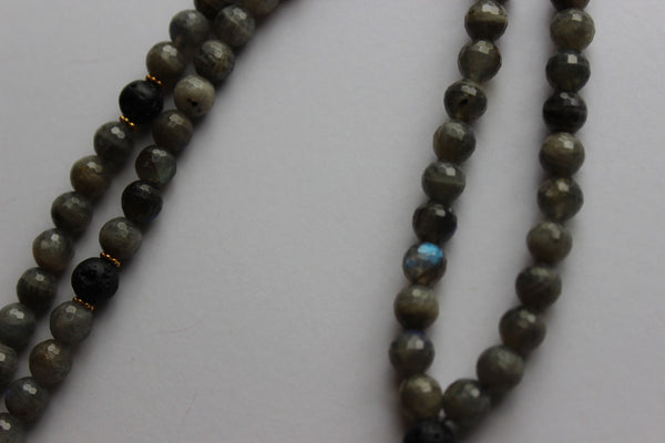 Labradorite & Volcanic Rock ~ Onyx Shield
