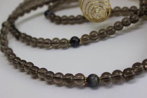 Genuine Smoky Quartz & Sodalite Mala - Gold